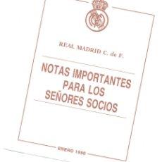 Documentos antiguos: CIRCULAR DEL REAL MADRID A LOS SOCIOS.CON FELICITACIÓN DE NAVIDAD,AL DORSO.ENERO 1990.ENVÍO: 1,10€ *. Lote 51342514