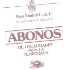 Documentos antiguos: CIRCULAR DEL REAL MADRID A LOS SOCIOS.CON INFORMACIÓN ABONOS TEMPORADA 1988-89.ENVÍO:1,10 € *. Lote 51343113