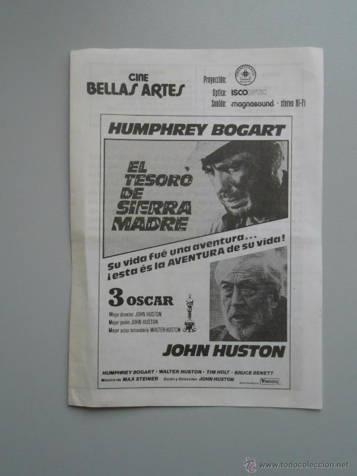 FOLLETO CINE BELLAS ARES. EL TESORO DE SIERRA MADRE. HUMPHREY BOGART. TDKP5 (Coleccionismo - Documentos - Otros documentos)