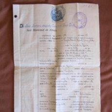 Documentos antiguos: PARTIDA DE NACIMIENTO (1888) LEGALIZADA EN LÉRIDA EN 1928. TIMBRES Y SELLOS. Lote 51374192