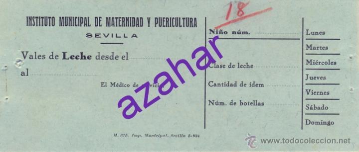 SEVILLA, ANTIGUO VALE DE LA GOTA DE LECHE, RARO (Coleccionismo - Documentos - Otros documentos)
