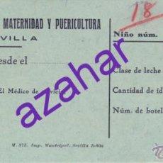 Documentos antiguos: SEVILLA, ANTIGUO VALE DE LA GOTA DE LECHE, RARO. Lote 51497694