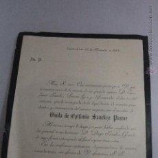 Documentos antiguos: CIUDAD REAL, 1894, ESQUELA MORTUORIA, VIUDA DE EPIFANIO SANCHEZ PASTOR -DOCA-. Lote 51503696