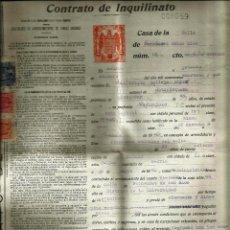 Documentos antiguos: CONTRATO DE INQUILINATO CON PÓLIZAS -MADRID 1941- *PAPEL PERGAMINO*. Lote 53515708