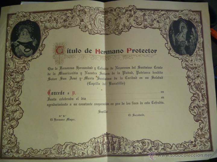 SEMANA SANTA DE SEVILLA : DIPLOMA HERMANO PROTECTOR HERMANDAD DEL BARATILLO (Coleccionismo - Documentos - Otros documentos)