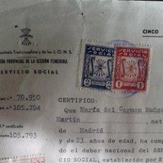 Documentos antiguos: CERTIFICADO DE CUMPLIMIENTO DEL DEBER DE SERVICIO SOCIAL EN LA SECCIÓN FEMENINA. MADRID, 1954. . Lote 51575718