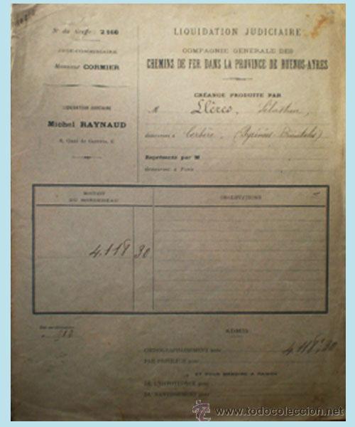 1918.- CARPETA Y DOCUMENTO DE LIQUIDACION JUDICIAL DE CIA. CHEMINS DE FER DE PROV. DE BUENOS-AYRES. (Coleccionismo - Documentos - Otros documentos)
