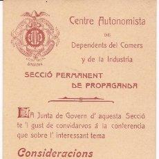 Documentos antiguos: CENTRE AUTONOMISTA / SECCIÓ PERMANENT DE PROPAGANDA / BARCELONA 4 ABRIL 1905. Lote 51629658