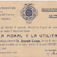 Documentos antiguos: CENTRE AUTONOMISTA DE DEPENDENTS DEL COMERS I DE LA INDUSTRIA / MAYO 1905. Lote 51629750