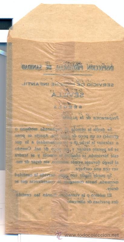 Documentos antiguos: Sobre de Semola,Gota de Leche, Sevilla. Años ´40—50. Lucha contra la mortalidad, vacio - Foto 2 - 51636739