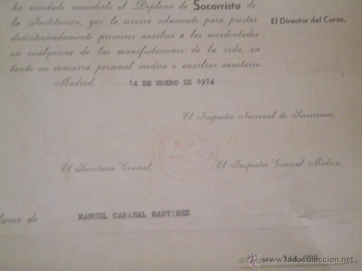 Documentos antiguos: DIPLOMA DE SOCORRISTA DE LA CRUZ ROJA 1974 - Foto 3 - 51667283