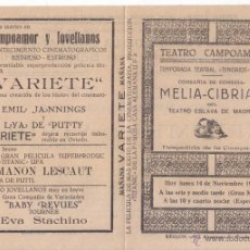Documentos antiguos: DÍPTICO TEATRO CAMPOAMOR. OVIEDO. COMPAÑÍA MELIA-CIBRIAN. 1927. ASTURIAS. . Lote 51705540