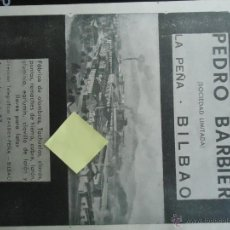 Documentos antiguos: PUBLICIDAD PEDRO BARBIER LA PEÑA BILBAO VIZCAYA ALAMBRES PUNTAS REMACHES HIERRO CLAVOS METAL. Lote 51919964