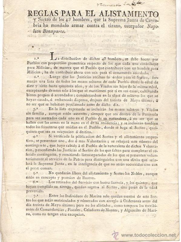 REGLAS PARA EL ALISTAMIENTO CONTRA EL TIRANO, USURPADOR NAPOLEON BONAPARTE. CANTABRIA. AÑO 1808 (Coleccionismo - Documentos - Otros documentos)