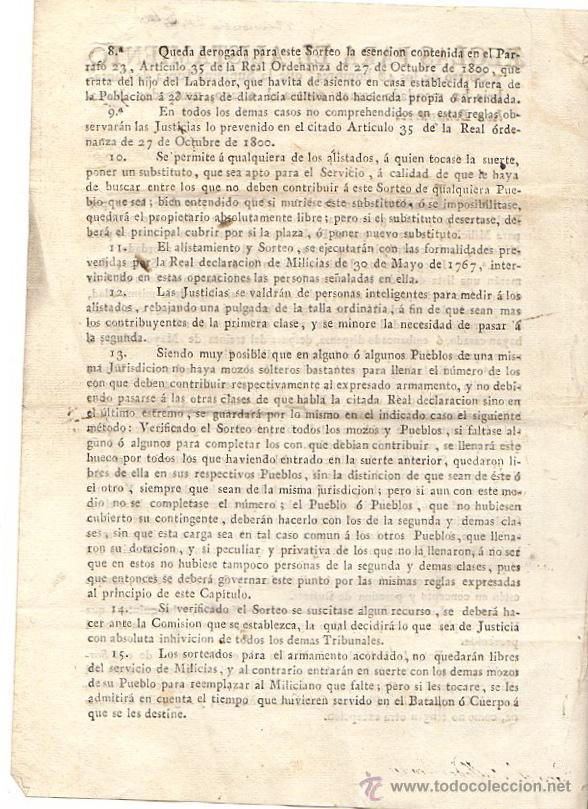 Documentos antiguos: REGLAS PARA EL ALISTAMIENTO CONTRA EL TIRANO, USURPADOR NAPOLEON BONAPARTE. CANTABRIA. AÑO 1808 - Foto 2 - 51961734