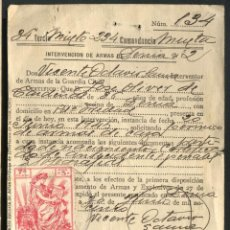 Documentos antiguos: DENIA 1944 -INTERVENCION DE ARMAS. Lote 103843703