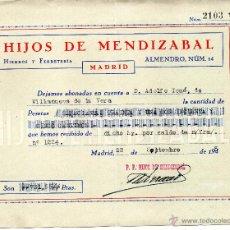 Documentos antiguos: RECIBO DE 1945 DE HIJOS DE MENDIZABAL. MADRID A VILLANUEVA DE LA VERA. Lote 51993674