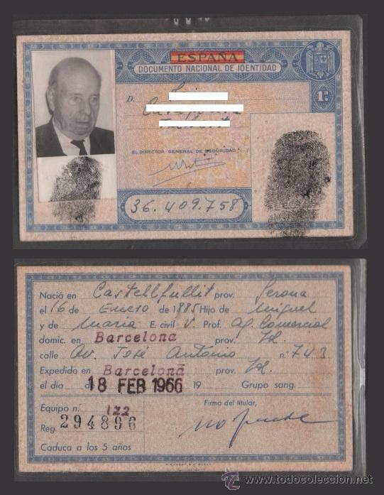 DNI 36.409.758 C10-2 CARNET DE IDENTIDAD DE BARCELONA EXPEDIDO EL 18 - DE FEBRERO DE 1966. (Coleccionismo - Documentos - Otros documentos)