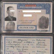Documentos antiguos: DNI 20.669.179 - C10-2 - CARNET DE IDENTIDAD EXPEDIDO EN ALCIRA EL 16-10-1964 - PERTENECIENTE A UN. Lote 41254640