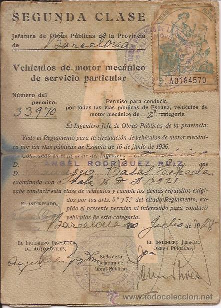 Documentos antiguos: CARNET SEGUNDA CLASE / VEHÍCULOS DE MOTOR MECÁNICO / BARCELONA 1928 - Foto 2 - 52025023