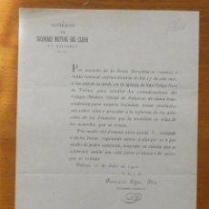 Documentos antiguos: SOCIEDAD SOCORROS MUTUOS DEL CLERO DE MALLORCA, 1902, CONVOCATORIA. Lote 52362944