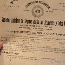 Documentos antiguos: NOMBRAMIENTO DE MEDICO - CIRUJANO, 1935, BAÑERES, ALICANTE, VARIOS DOCUMENTOS -DOCI-. Lote 52451587