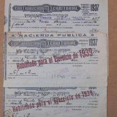 Documentos antiguos: RECIBOS CONTRIBUCIÓN TERRITORIAL, HABILITADO 1939 TRES RECIBOS. Lote 52535182