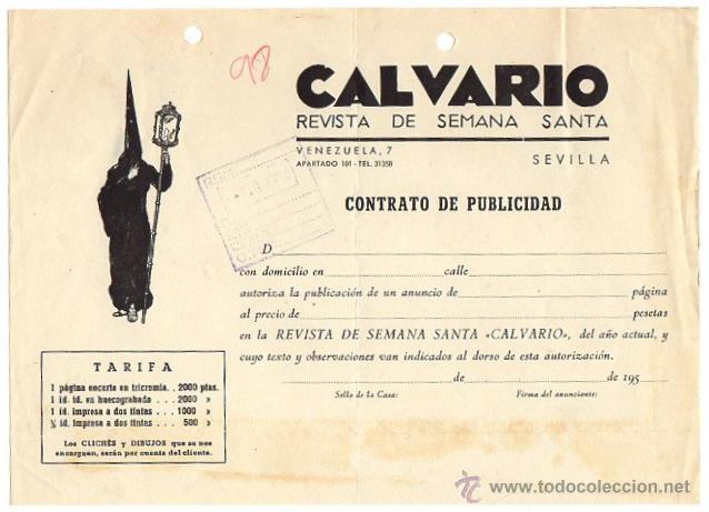 CONTRATO DE PUBLICIDAD REVISTA DE SEMANA SANTA CALVARIO. SEVILLA. AÑOS 50 (Coleccionismo - Documentos - Otros documentos)