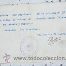 Documentos antiguos: CONSEJO MUNICIPAL DE CALASPARRA ORDEN DE ENTERRAMIENTO 1939 MURCIA. Lote 52617081