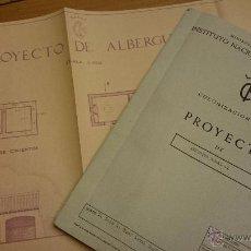 Documentos antiguos: PROYECTO DE ALBERGUE RURAL, 1957, MEMORIA, PLANO, PRESUPUESTO... FINCA HORNA BAJA DE NOVELDA. Lote 52698220