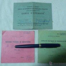 Documentos antiguos: CARNET DE ESTUDIANTE UNIVERSIDAD DE GRENOBLE AÑOS 60 (3 DOCUMENTOS). Lote 52742327