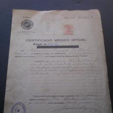 Documentos antiguos: DOCUMENTO, CERTIFICADO MEDICO LLEVA UN SELLO BENEFICO, TIMBRE O FISCAL, 1939. Lote 52797538