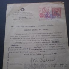 Documentos antiguos: DOCUMENTO SANIDAD, FARMACIA LLEVA SELLO TIMBRE O FISCAL. Lote 52803764