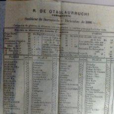 Documentos antiguos: LISTA DE PRECIOS. R. DE OTAOLAURRUCHI. SANLUCAR DE BARRAMEDA, CAIDZ. 1886. COTIZACION DE GENEROS. Lote 52814165