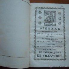 Documentos antiguos: MEMORIAL PLEITO CONDE DE SASTAGO VS MARQUESES DE VILLAVERDE, 1760, 31 PAGS. Lote 52865612