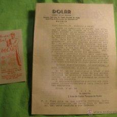 Documentos antiguos: PUBLICIDAD Y HOJA DE SUSCRIPCION DE REVISTA -DOLAR-.SUMARIO DE NEGOCIOS.. Lote 52914504