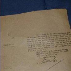 Documentos antiguos: ADMINISTRACION DE CORREOS, BENEJAMA, 1939. Lote 52935541