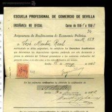 Documentos antiguos: ANTIGUA PAPELETA DE EXAMEN ESCUELA PROFESIONAL DE COMERCIO DE SEVILLA CURSO 1941-1942. Lote 52944905
