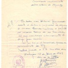 Documentos antiguos: CORREOS.DOCUMENTO INTERNO. BENIAJÁN DD. 25-ABR-1939. Lote 52946327