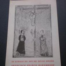 Documentos antiguos: DIPTICO SUFRAGIO DEL JEFE DEL ESTADO FRANCISCO FRANCO EN LA CATEDRAL DE VALENCIA, 26 NOV, 1975 . Lote 52946581