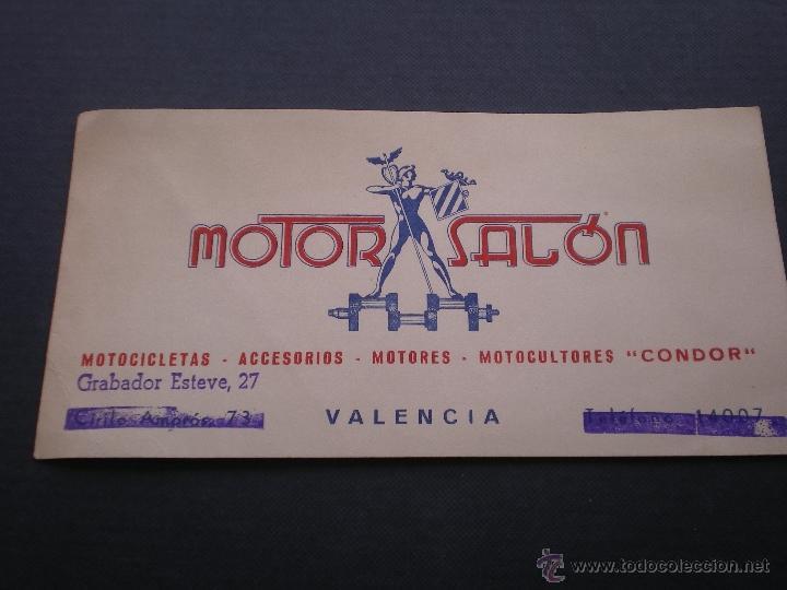 TATJETA DE VISITA CO PUBLICIDAD DE MOTOS O MOTOCICLETAS, MOTOR SALON VALENCIA (Coleccionismo - Documentos - Otros documentos)