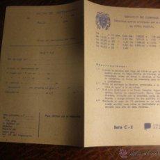 Documentos antiguos: ANTIGUO DIPTICO DE CORREOS.GIRO POSTAL.SERIE C.AÑOS 40.. Lote 52956604