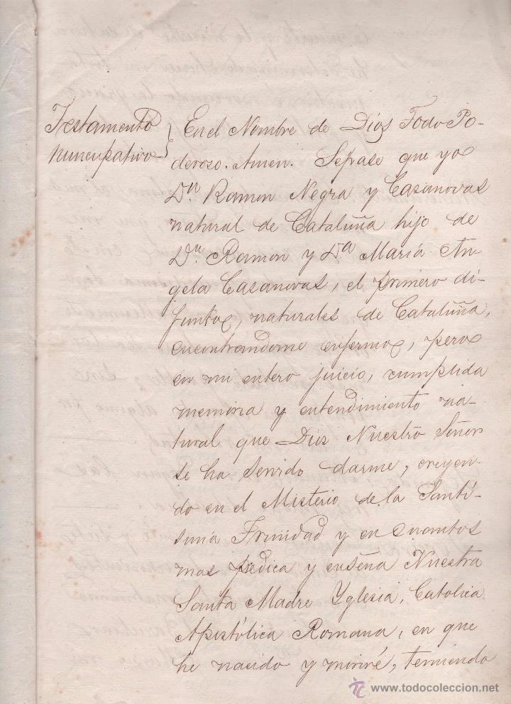 Documentos antiguos: CAR-MUS-2 - LA HABANA (Cuba) - Escritura de Testamento de D. RAMON NEGRA Y CASANOVAS natural de CA - Foto 2 - 52957137
