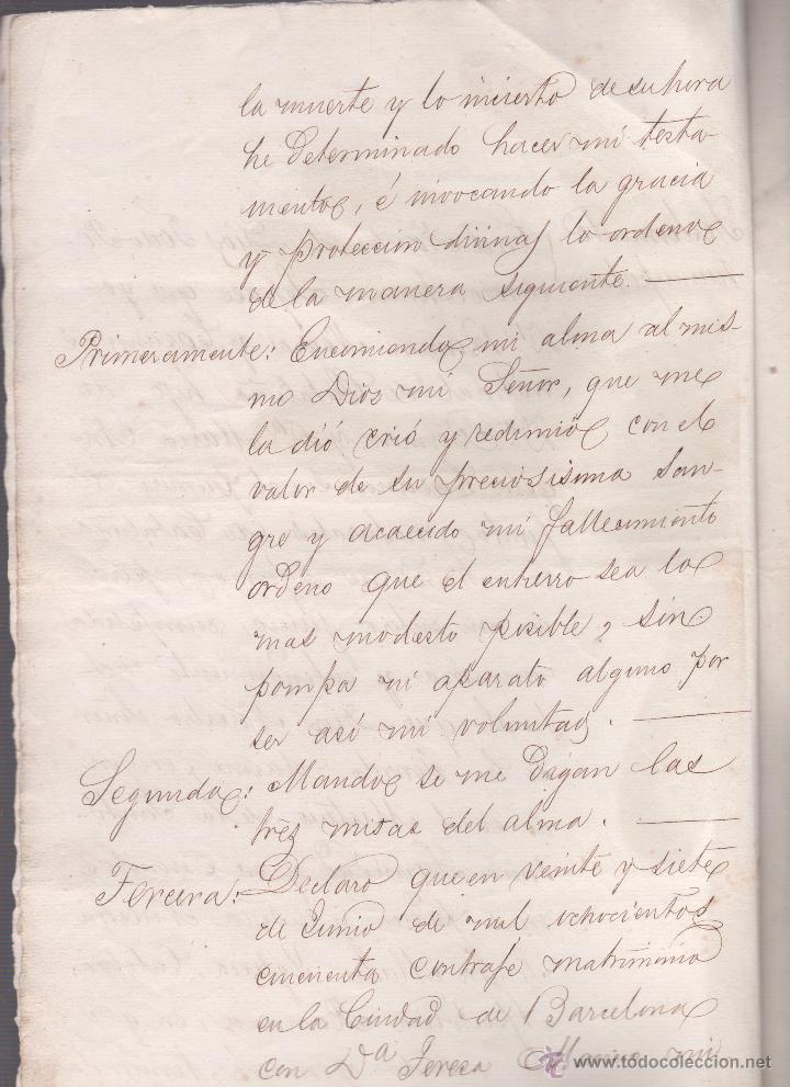 Documentos antiguos: CAR-MUS-2 - LA HABANA (Cuba) - Escritura de Testamento de D. RAMON NEGRA Y CASANOVAS natural de CA - Foto 3 - 52957137