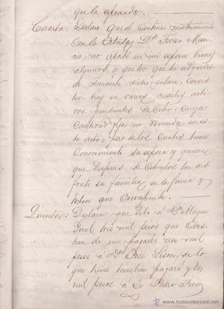 Documentos antiguos: CAR-MUS-2 - LA HABANA (Cuba) - Escritura de Testamento de D. RAMON NEGRA Y CASANOVAS natural de CA - Foto 6 - 52957137