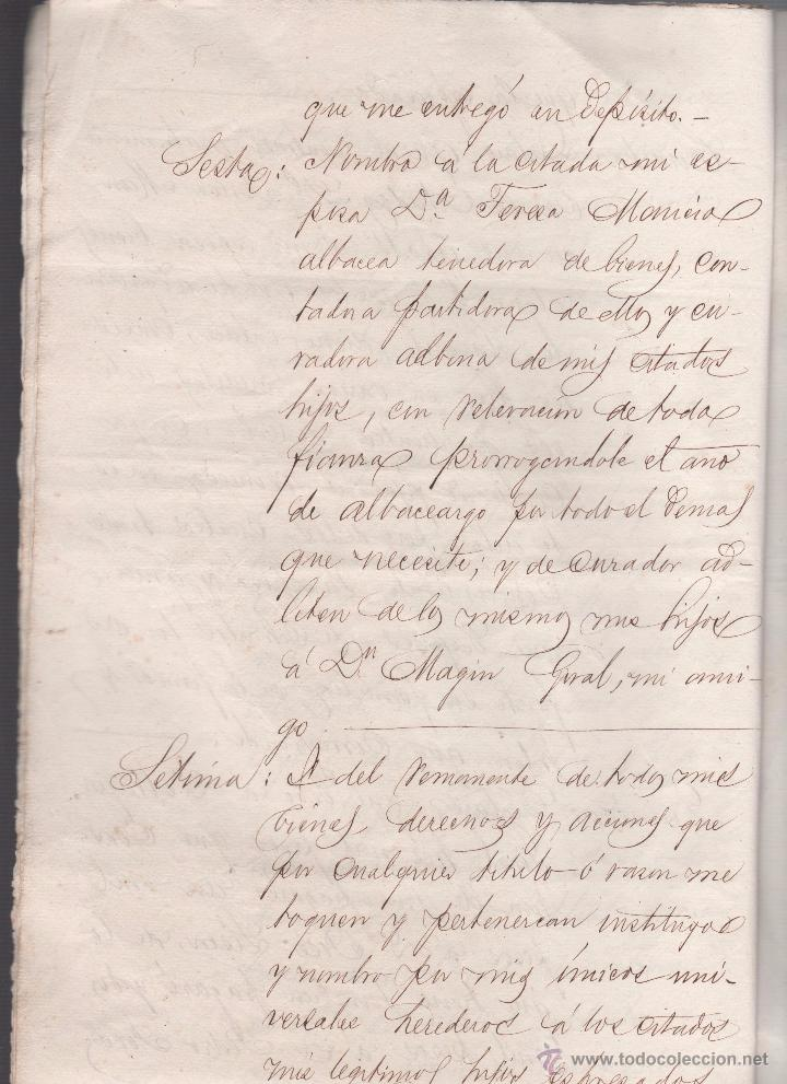 Documentos antiguos: CAR-MUS-2 - LA HABANA (Cuba) - Escritura de Testamento de D. RAMON NEGRA Y CASANOVAS natural de CA - Foto 7 - 52957137