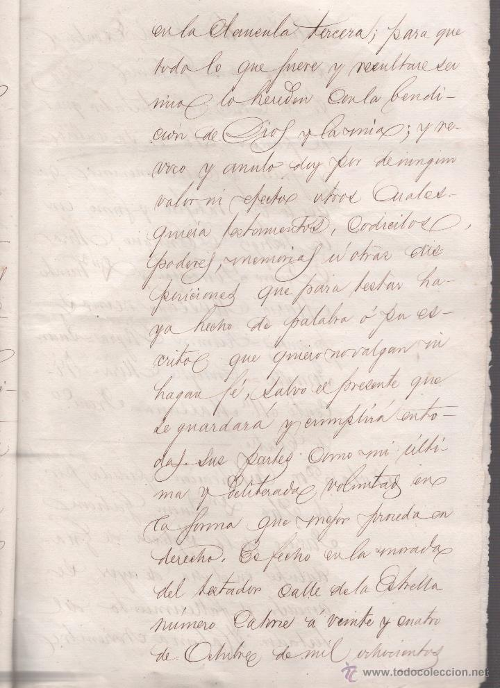 Documentos antiguos: CAR-MUS-2 - LA HABANA (Cuba) - Escritura de Testamento de D. RAMON NEGRA Y CASANOVAS natural de CA - Foto 8 - 52957137