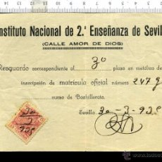 Documentos antiguos: GUERRA CIVIL PAPELETA DE MATRICULA INSTITUTO NACIONAL DE 2º ENSEÑANZA DE SEVILLA. Lote 52984870