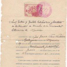 Documentos antiguos: UNIVERSIDAD DE DERECHO DE MURCIA. CERTIFICADO DEL 28-SEP-1926. Lote 53011842