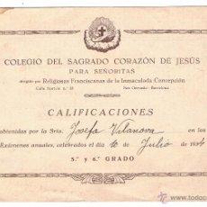 Documentos antiguos: BOLETÍN DE NOTAS CALIFICACIONES COLEGIO DEL SAGRADO CORAZÓN DE JESÚS 1934 SAN GERVASIO BARCELONA. Lote 53018635